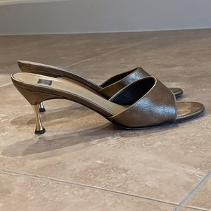 Anne Klein Bronze Metallic Open-Toe Mules sz. 7.5